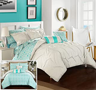 Chic Home Sabrina 10 Piece Reversible Comforter Bed, Queen, Grey