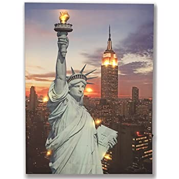 American Decor- New York Canvas BANBERRY DESIGNS Patriotic Wall Art Canvas Print with Ellis Island and Along The Night Sky Statue of Liberty LED Light Up Picture