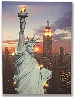 Hong Art LED Wall Art The Statue of Liberty Framed Picture Lighted New York City Canvas Prints for Home Decoration-12x16 Inch HA-17-CP-053