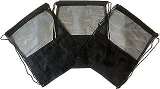 3 Pack BLACK MESH Nylon Drawstring Backpacks Sackpack Tote Cinch Gym Bag - Variety of Colors! (X-Large, Black Mesh)