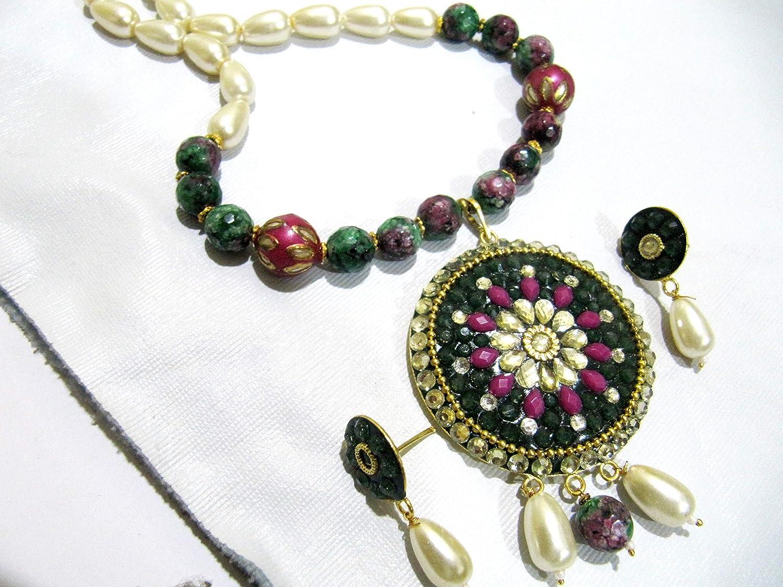 Beautiful Flower Pendant Set, Gold Carved Beads Necklace and Earrings, Meenakari Enamel Beads, Kundan Polki Art, Trendy Pearl Jewelry