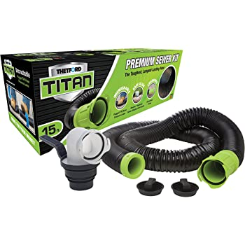 Titan 17853 15ft 15-Foot Premium RV Sewer Hose Kit-Thetford-17853, Black/Green