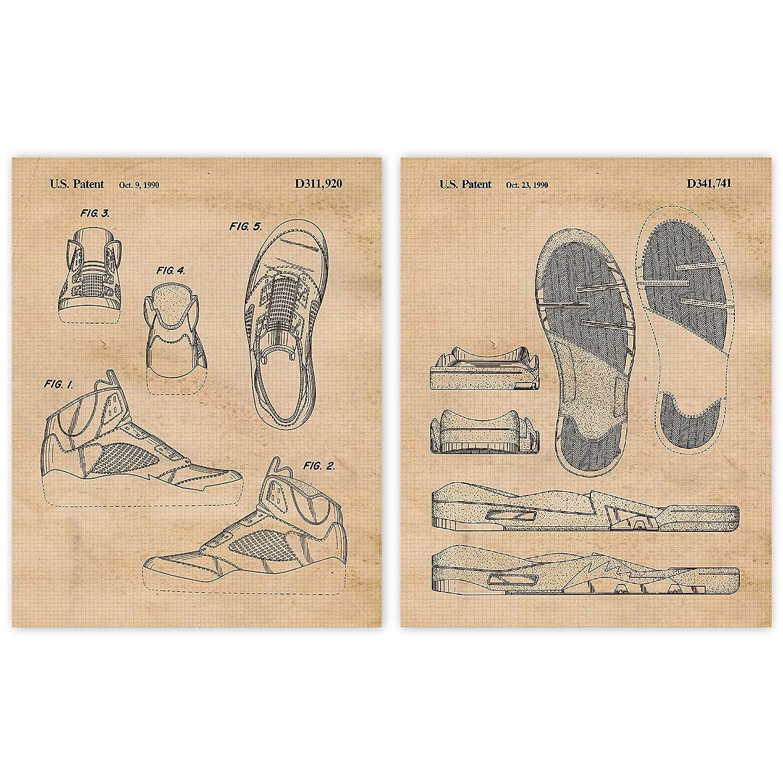 Vintage AJ 5 Shoes Patent Regular discount Poster Now on sale Unfram Prints 11x14 Set of 2