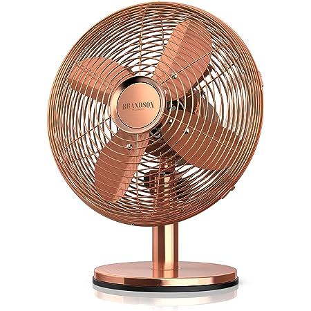 Brandson - Ventilateur de table silencieux 30W, Design rétro chromé industriel, Desk fan, 3 vitesses, mobile portable, Oscillation 80°, Inclinable à 40°, Boîtier métallique, Modèle Copperline cuivre