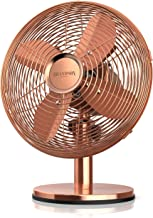 Brandson - Ventilateur de table silencieux 30W, Design rétro chromé industriel, Desk fan, 3 vitesses, mobile portable, Osc...