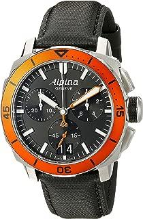 Alpina Men's AL-372LBO4V6 Seastrong Diver 300 Chronograph Big Date Analog Display Swiss Quartz Black Watch