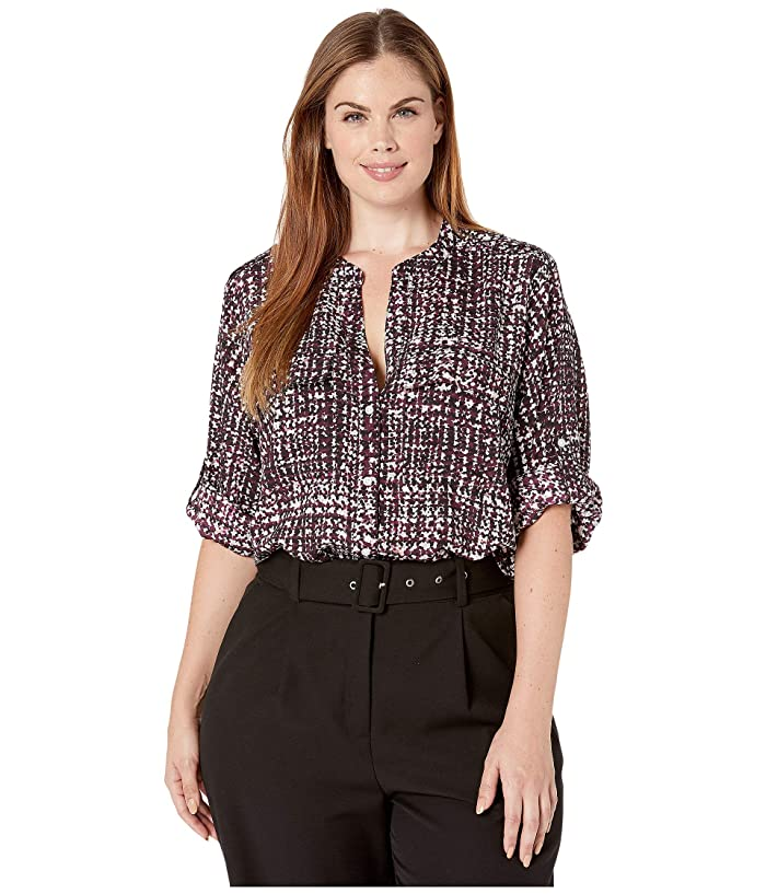 Plus Size Printed Roll Sleeve Blouse (Aubergine Combo 2) Women's Blouse