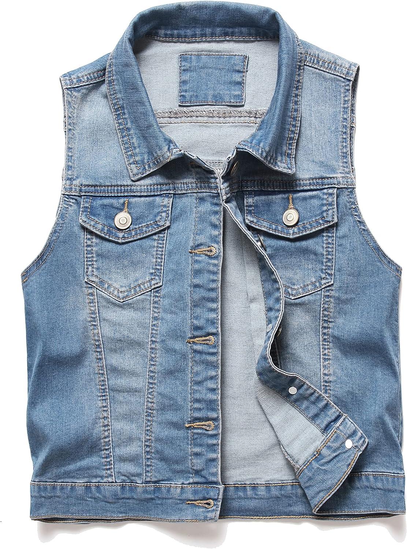 PULANNITE Women's Buttoned Washed Denim Vest Jacket W Chest Flap Pockets