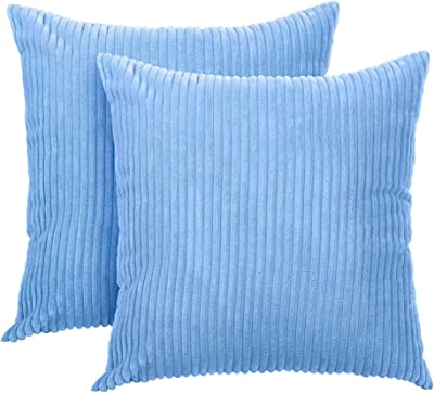 TRIPLE TREE Throw Pillow Cover Pack of 2 Striped Corduroy Velvet Pillow Cases Square Decorative Cushion Covers, 18X18 inch, Light Blue