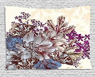 Ambesonne Floral Tapestry by, Hand Drawn Pastel Color Flowers with Butterflies Vintage Detailed Image, Wall Hanging for Bedroom Living Room Dorm, 80WX60L Inches, Blue Purple White Brown