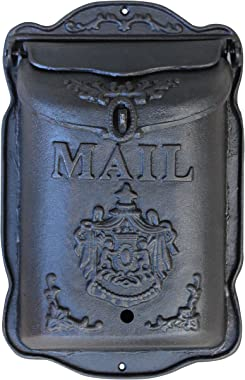 Lockable Wall Mounted Mailbox - Cast Iron Vintage Residential Mail Box - Crest Design Heavy Duty Weatherproof Letter Box