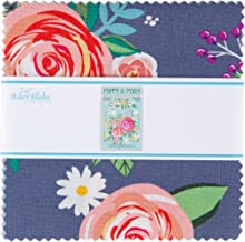 """DODI Lee Poulsen Poppy and Posey 5"""" Stacker 42 5-inch Squares Charm Pack Riley Blake 5-10580-42"""