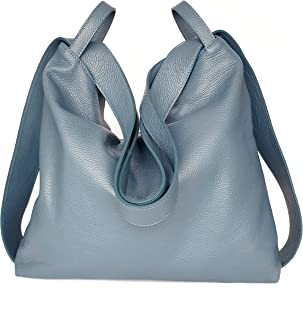 Borsa a Zaino in vera pelle morbida colore jeans Borsa Donna a Spalla trasformabile Ganza Roma Amante Handmade
