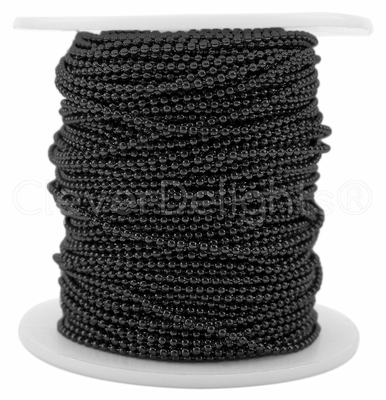 CleverDelights Ball Chain Spool - 100 Feet - 1.5mm Ball (Small) - Dark Black Color - Bulk Wholesale Roll