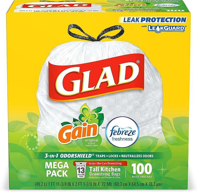 Glad Tall Kitchen Drawstring Trash Bags OdorShield 13 Gallon White Trash Bag Gain Original With Febreze Freshness 100 Count