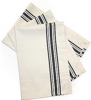 Aunt Martha`s Dish Towels, Black Herringbone Stripe
