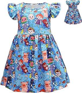 Tutu Skirt Rainbow Cocomelon dress Toddler Girls Dress Casual Short Sleeve Summer Dress Cartoon One Piece Sundress Print D...