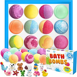 Bath Bombs for Kids with Toys Inside Set of 12 Organic & Natural Bubble Kids Bath Bombs, Fizz Bath Bombs for Kids Girls & ...
