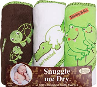 Frenchie Mini Couture Frog/Alligator/Turtle Hooded Bath Towel Set, 3 Pack