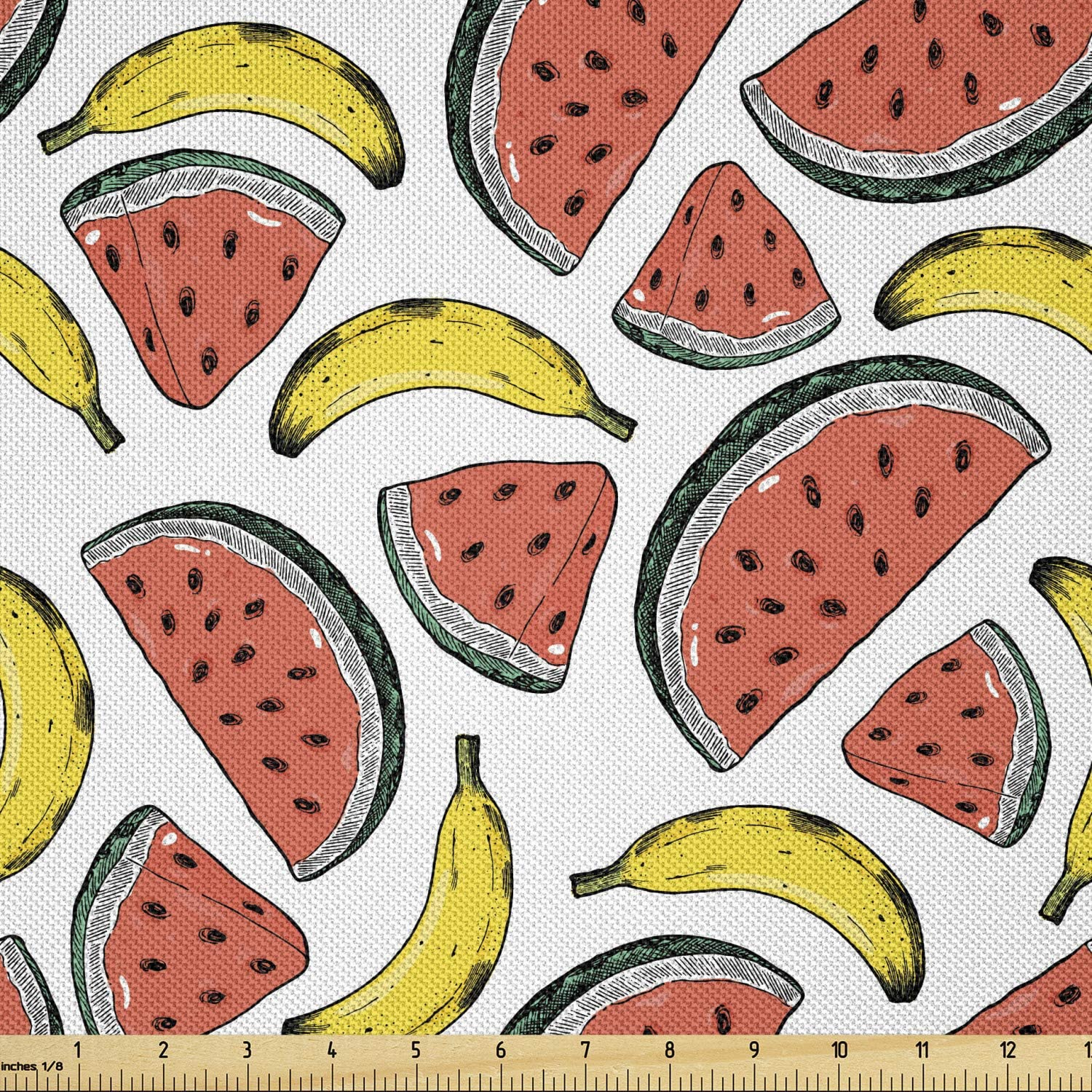 Ambesonne Fruits Fabric Nashville-Davidson Mall by The Summer Slic Watermelon Yard Manufacturer OFFicial shop Time