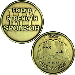 HPRS Personalized Custom Engraved My Sponsor Bronze AA (Alcoholics Anonymous)-ACA-AL-ANON-Sober-Sobriety-Medallion-Chip