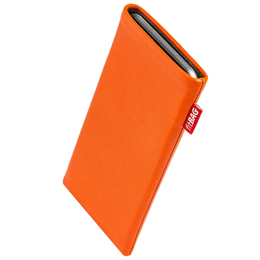fitBAG Beat Orange Custom Tailored Sleeve for Apple iPod Touch. Fine Nappa Leather Pouch with Integrated Microfibre Lining for Display Cleaning