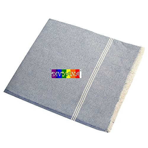DIVYANA® 100% Cotton Traditional Single Bed Skin Friendly Blanket/Khes/AC Blanket (Blue)