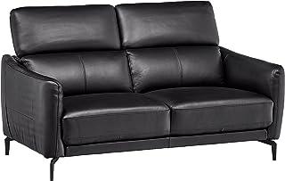 "Amazon Brand – Rivet Kaden Mid-Century Modern Adjustable Headrest Leather Loveseat Sofa, 61.8""W, Black Leather"