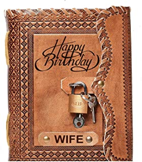 T.POD A5 Embossed Bhai Happy Birthday Handmade Gift Paper Diary with Lock (Multicolor) (Wife Happy Birthday Brown)