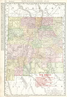 Vintage Map - 1910 New Mexico - Historic Poster Art Reproduction - 44in x 63in