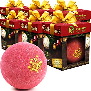 Bath Bomb Idea - LARGE Bathbomb Ornament Stocking Stuffer Best Holiday Xmas Presents For Her Him Women Men Kids Mom Dad Couple Wife Friends Bubble With Essential Oils 6 Pack