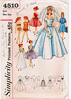 Simplicity Printed Pattern , Sewing #4510 , Circa 1950's , Bridal Gown and Trousseau for Teen Model Dolls, Babette , Mitzi, Gina, Babs, Kay, Polly Jr., Tina, Tina Marie and Barbie , Size 11 1/2