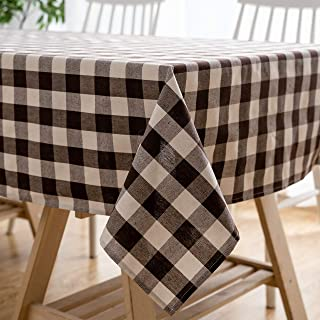 Aquazolax Brown Buffalo Plaid Oxford Tablecloth Machine Washable Table Covers for Rectangular Buffet and Picnic Table, 54 x 84 inches