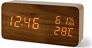 FiBiSonic Digital Alarm Clock with LED Display, Desk Wooden Clock with Voice Control Adjustable Brightness, 3 Alarm Settings, Bedside Alarm Clocks for Home, Kitchen, Office -Brown