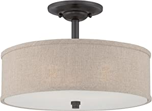 Quoizel CRA1717MC Cloverdale Semi-Flush Ceiling Lighting, 3-Light, 300 Watts, Mottled Cocoa (12