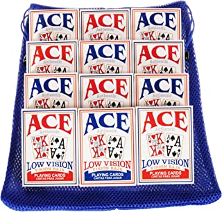 Low Vision, Very Big Numbers Playing Cards - Bundle of 12 Decks (6 Red, 6 Blue Backing) - Bonus Nylon Mesh Blue Drawstring Carry Bag - Bundled Items