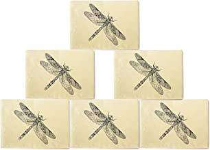VietsWay Dragonfly Printed Canvas Table Mats Placemats 13x19 Inch Set of 6