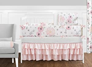 9 pc. Blush Pink, Grey and White Shabby Chic Watercolor Floral Baby Girl Crib Bedding Set with Bumper by Sweet Jojo Design...