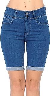 Wax Jean Women's Juniors Butt I Love You High Rise Push-Up 2 Button Bermuda Denim Shorts