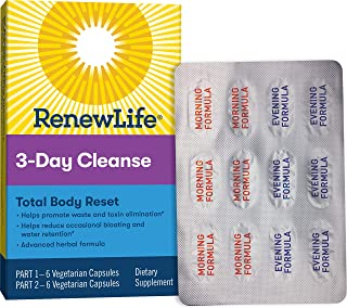 Renew Life Adult Cleanse Total Body Reset, Advanced Herbal Formula - 2-Part, 3-Day Program - Gluten, Dairy & Soy Free - 12...