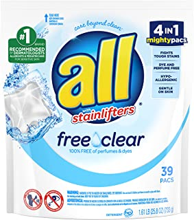 All Mighty Pacs Laundry Detergent Free Clear for Sensitive Skin, Pouch, 39 Count