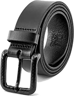 Carbon Fiber Buckle Leather Belt Metal Free Airport Friendly in an Elegant Gift Box