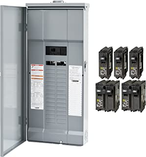 Square D by Schneider Electric HOM3060M200PRBVP Homeline 200 Amp 30-Space 60-Circuit Outdoor Main Breaker Load Center - Value Pack (Plug-on Neutral Ready),