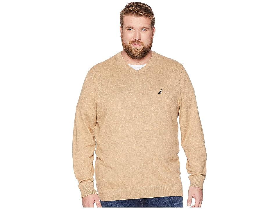 Nautica Big & Tall Big Tall Jersey V-Neck Sweater (Camel Heather) Men