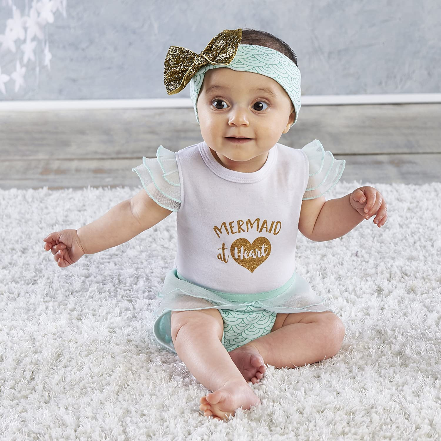 Baby Aspen, My First Mermaid Outfit with Headband, Baby Onesie, 0-6 Months