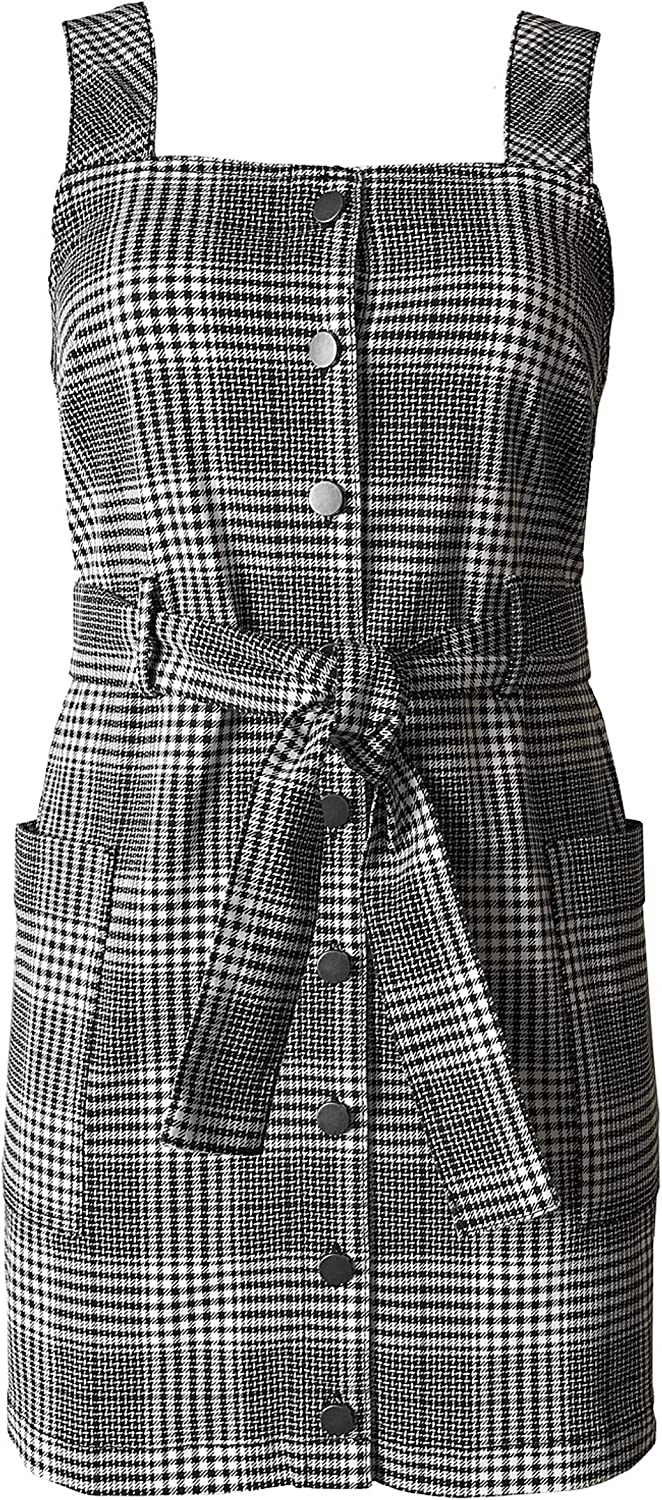 quality assurance Classic Tinseltown Juniors' Plaid Overalls Dress Belted