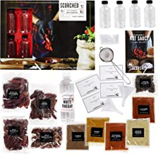 Thoughtfully Gifts, Extra Large DIY Hot Sauce Making Kit, Includes 4 Glass Bottles, Distilled White Vinegar, 2 Funnels, 2 ...