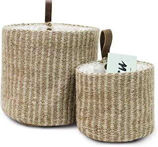 Woven Jute Lined Home Décor Storage Baskets set of 2 Leather Loop Handles, Toy Organizer, Plant Holder, Wall Shelf Decor, ...