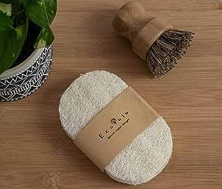 Ecolulu - Zero Waste Eco-Friendly Sponge and Bamboo Pot Brush Kitchen Set | 5 Kitchen Loofah Sponge | Bamboo Dish Pot Brush Tampico Plant Bristles
