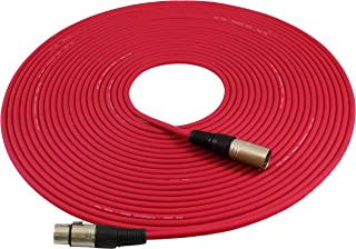 GLS Audio 50ft Mic Cable Patch Cords - XLR Male to XLR Female Red Microphone Cables - 50' Balanced Mike Snake Cord